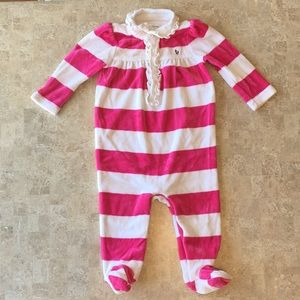Ralph Lauren Pink and White Velour Footies